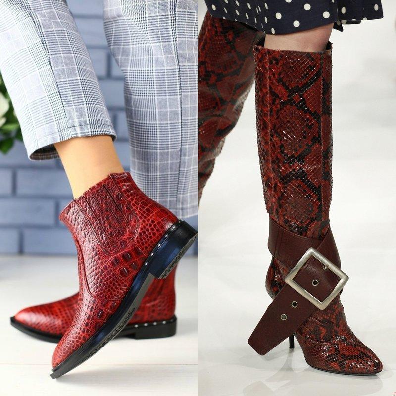 Обувь из кожи рептилий в красном цвете