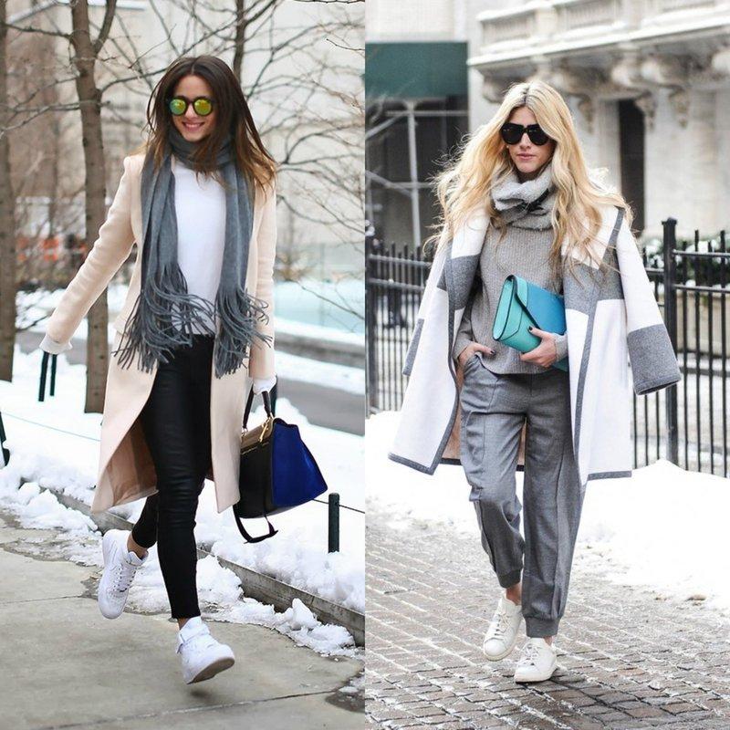 Зимние образы в утепленных кроссовках