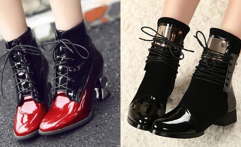 Стильные ботинки на осень из лакированной кожи