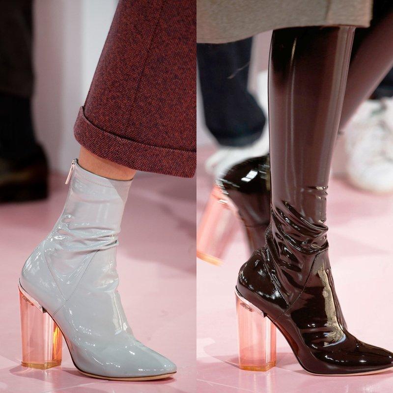 Обувь из лакированной кожи с прозрачным каблуком