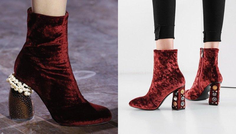 Необычные модели обуви из бархата
