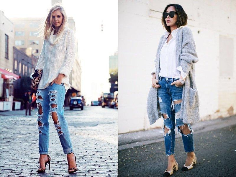 Модный уличный образ в джинсах