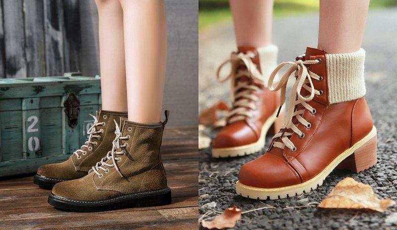 Красивые ботинки на осень со шнуровкой