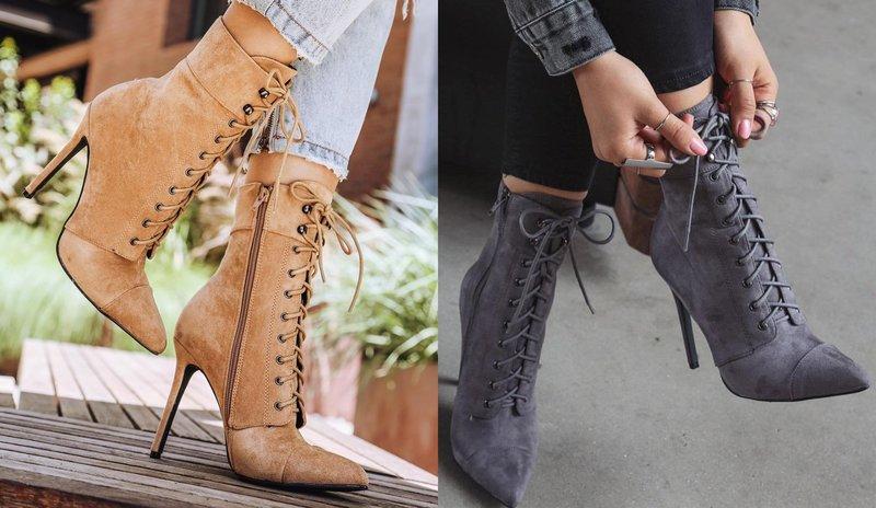Женская обувь на каблуке со шнуровкой