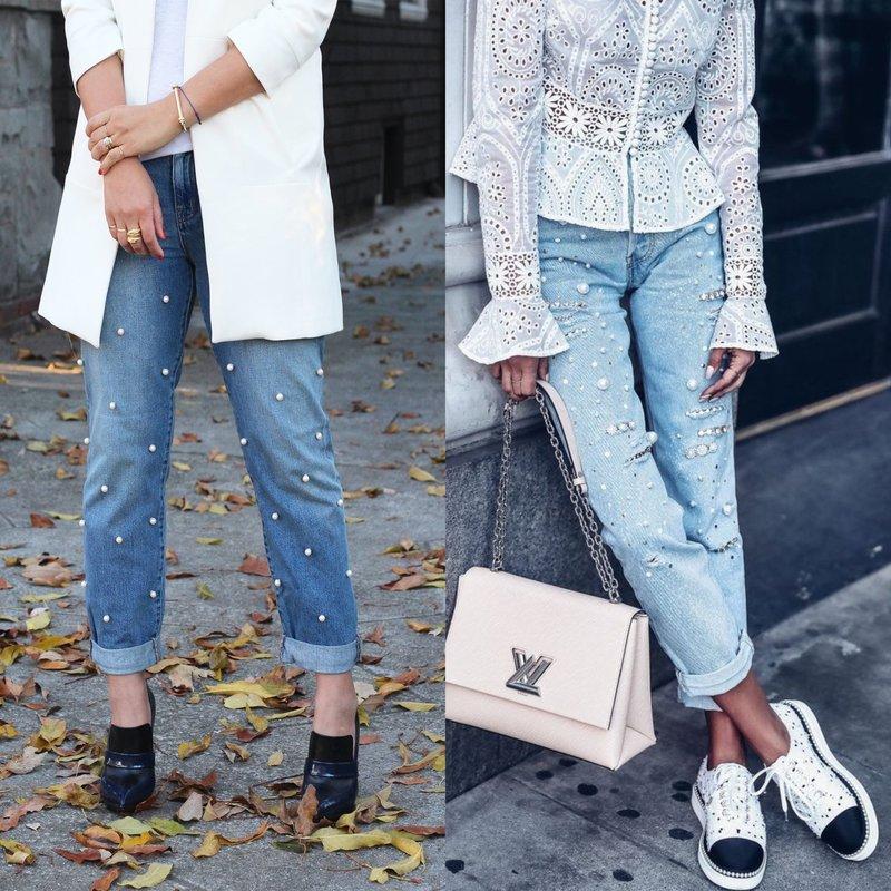 Бусины на джинсах по всей длине