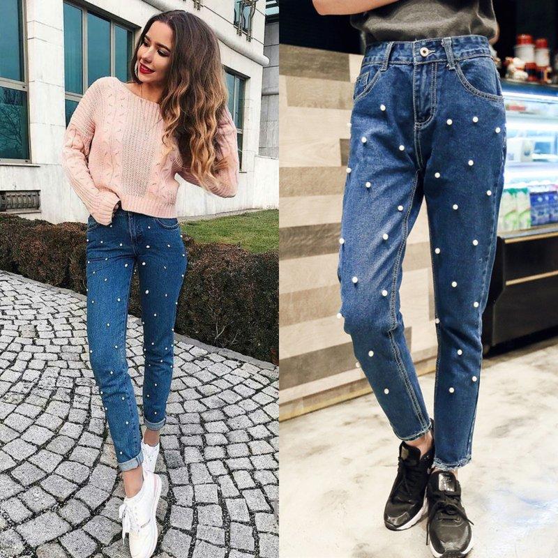Декор джинс жемчугами