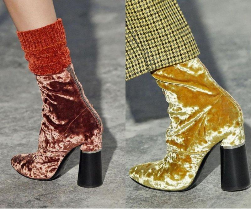 Осенняя обувь из бархата яркого цвета