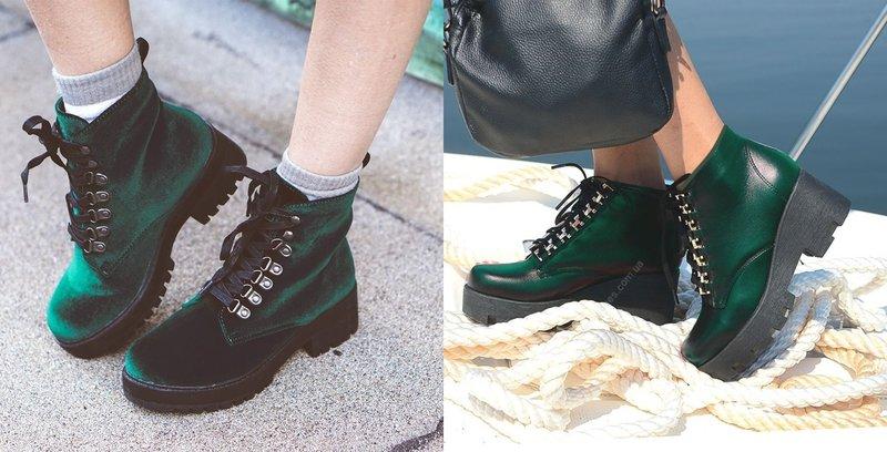 Стильные ботинки изумрудного цвета