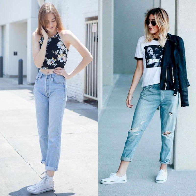 Стильные девушки в модных джинсах