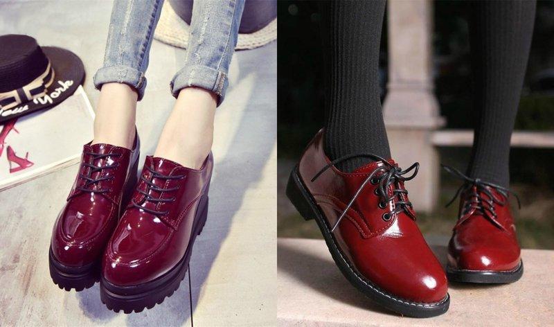 Ботинки с лакированной кожей на осень