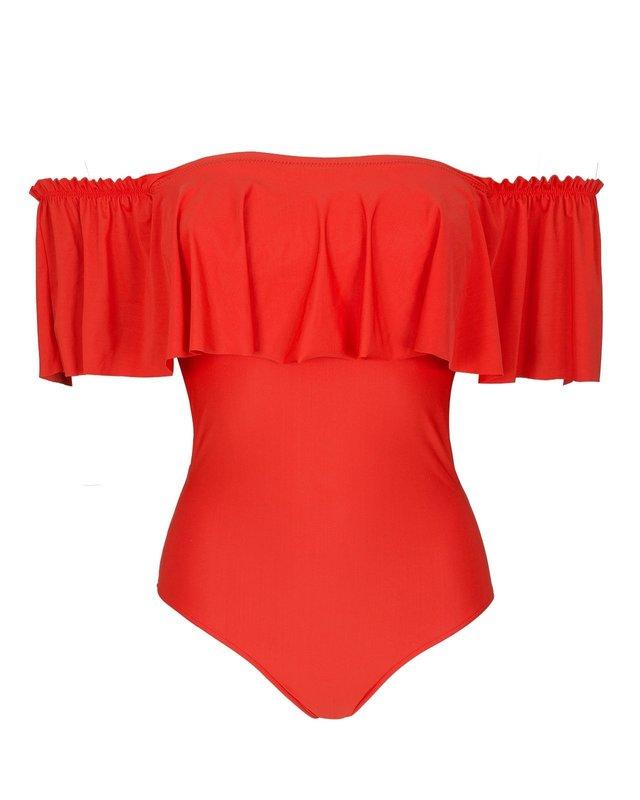 Красно-оранжевый купальник