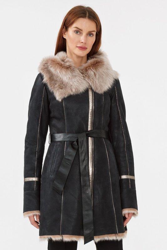 Куртка-дубленка с комбинированным мехом