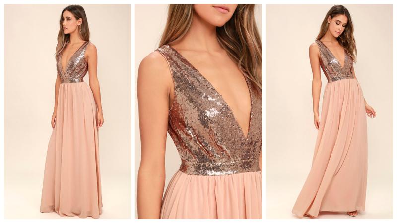 Вечернее розовое платье с глубоким декольте