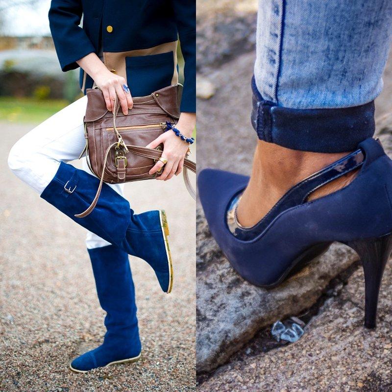 Стильная обувь модного синего цвета