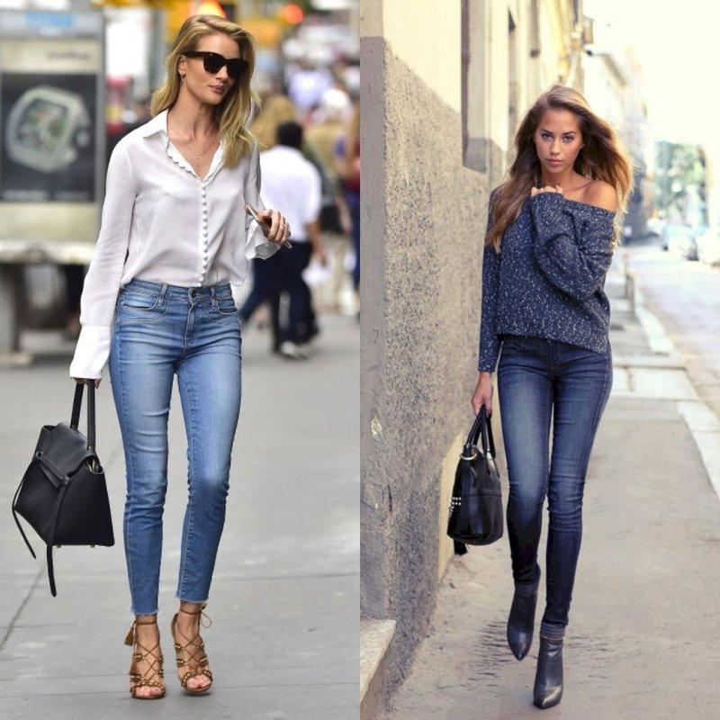 Модные образы в джинсах скинни