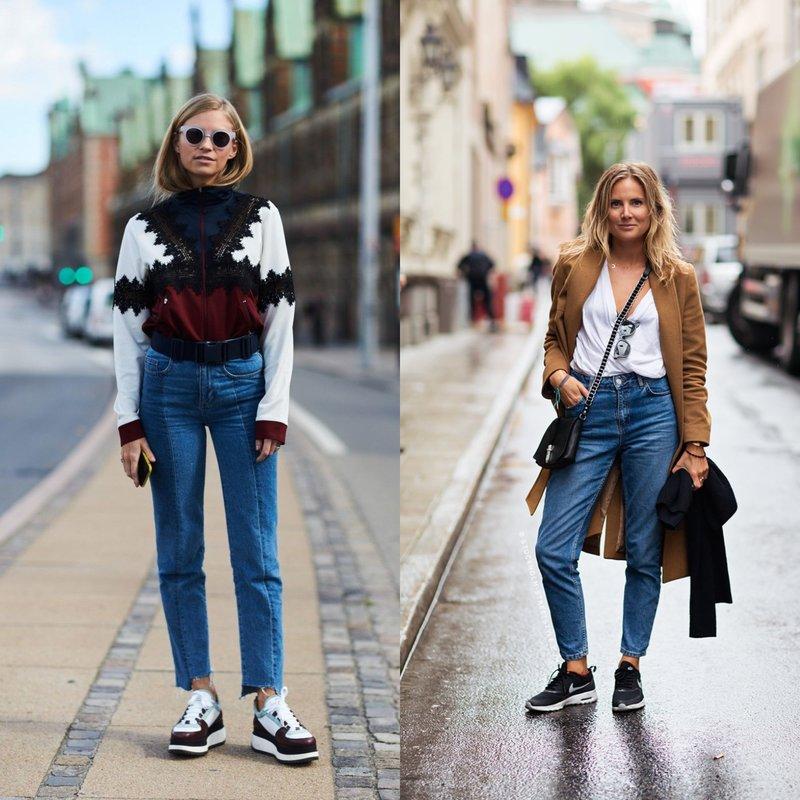 Mom's jeans с кроссовками