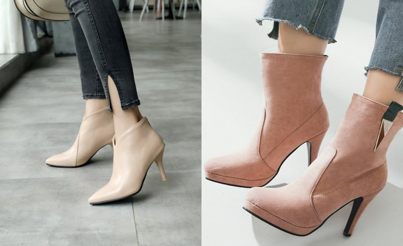 Полуботинки на каблуке с острым носком