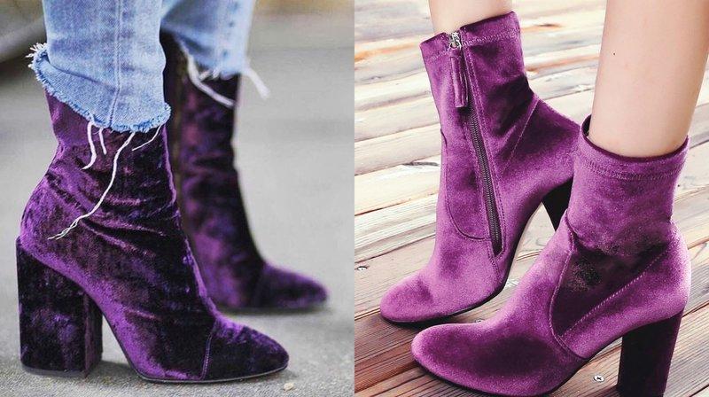 Осенние ботильоны в ультрамодном фиолетовом оттенке