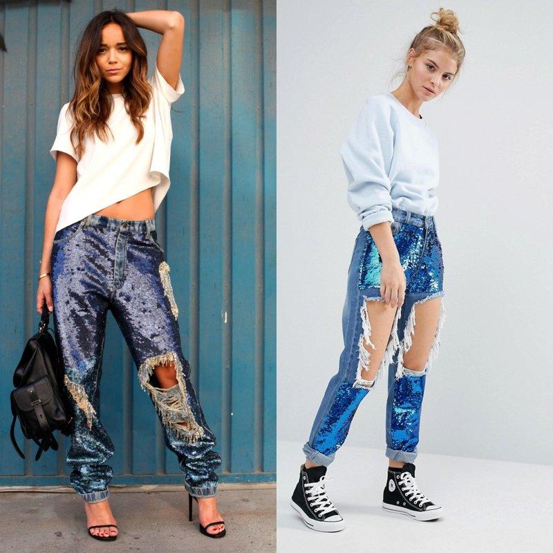 Декорирование джинс пайетками: стильные образы