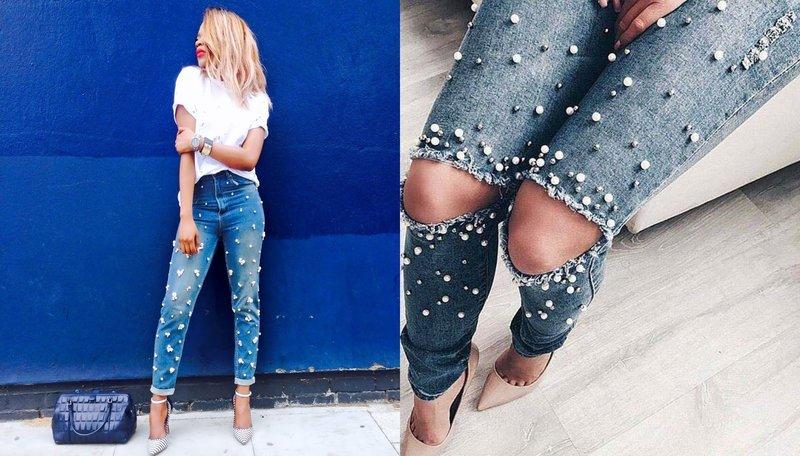 Девушка в джинсах с жемчугами