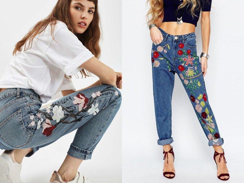 Стильные модели джинс с декором