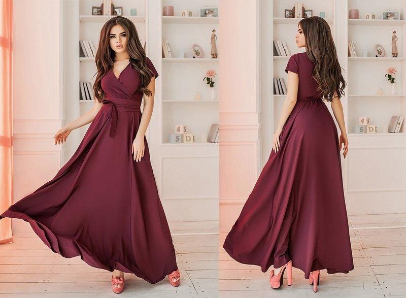 Платье-халат цвета бордо