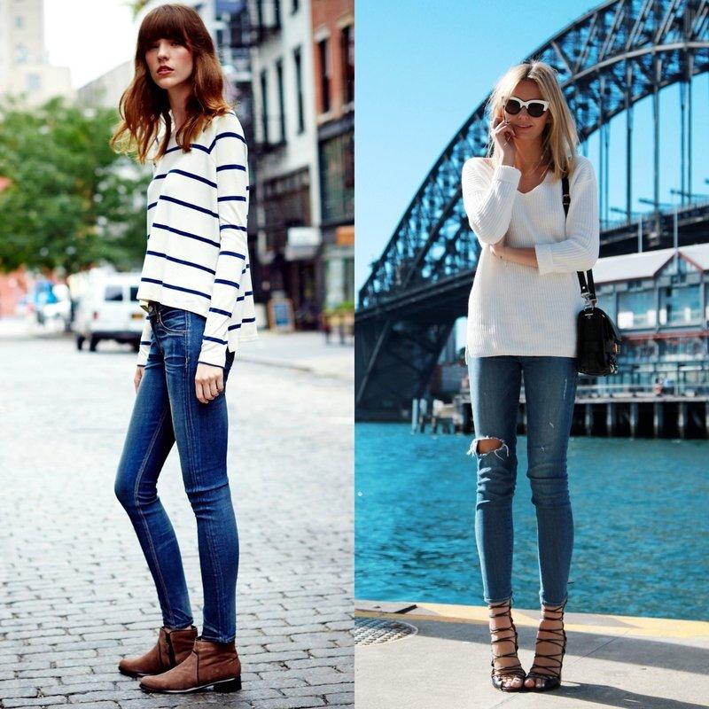Красивые женские джинсы скинни