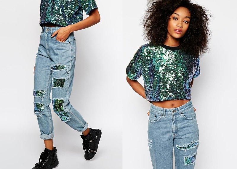 Стильный образ в джинсах с дополнительным декором