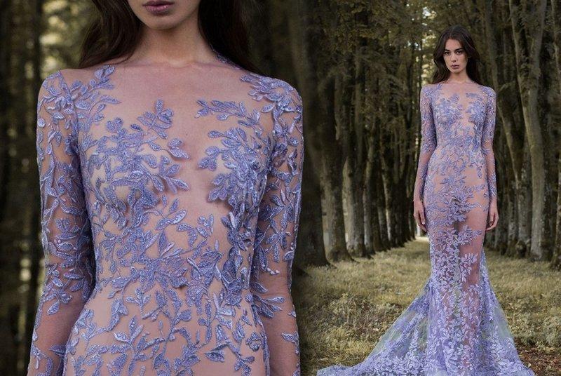 Лавандовое платье с вышивкой