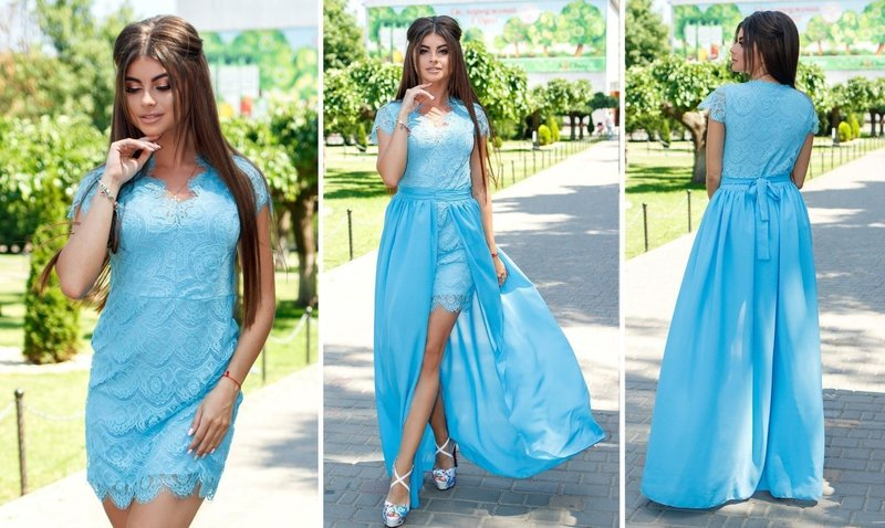 Голубое платье со съёмной юбкой