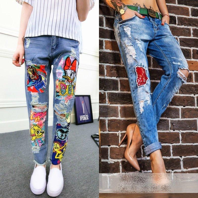 Декорирование джинс заплатками
