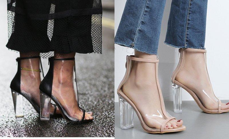 С чем носить обувь с прозрачными элементами?