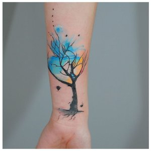 "Дерево в технике тату ""акварель"""