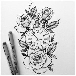 Эскиз тату с часами и розами