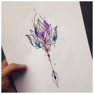 Эскиз узора для акварельной татуировки