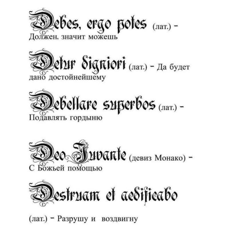 Эскизы надписей на латинском