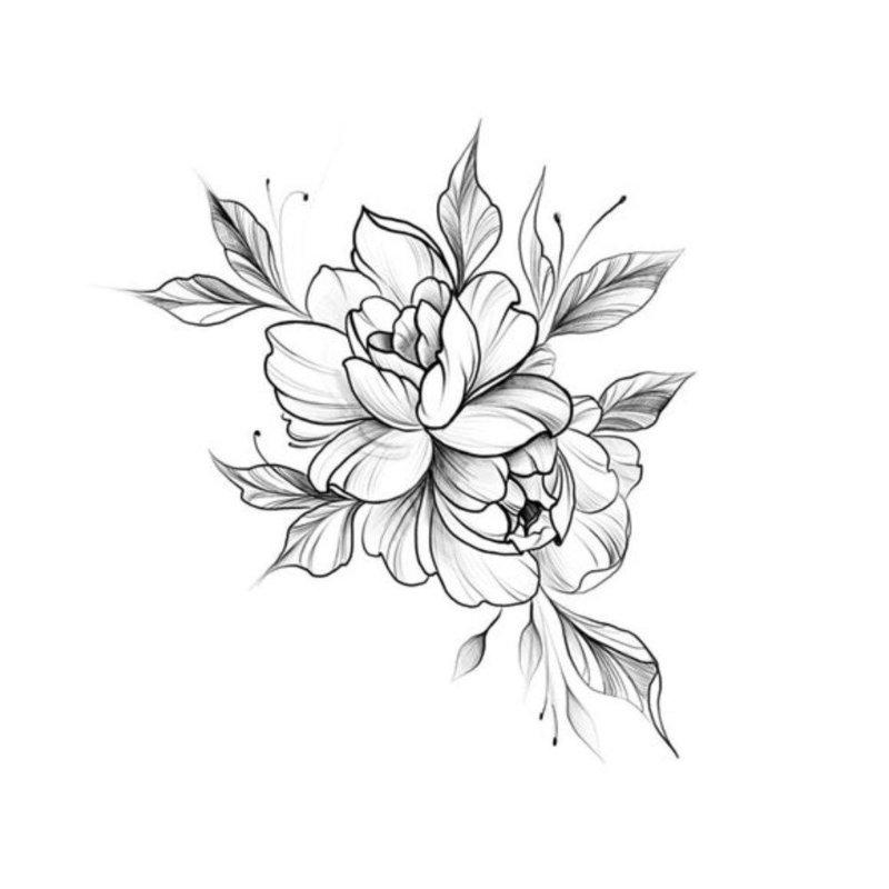 Цветок - эскиз для тату