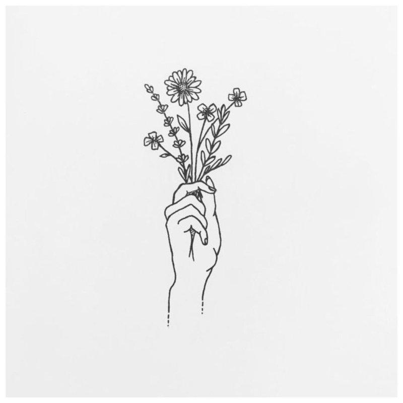Цветочная тематика эскиза для татуировки