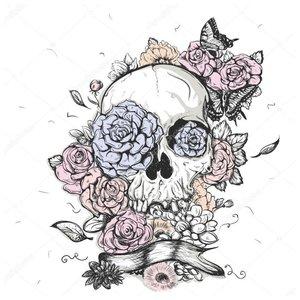 Оригинальный череп - эскиз для тату