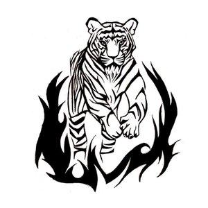 Эскиз с тигром в огне