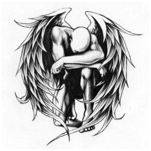 Падший ангел - эскиз для тату