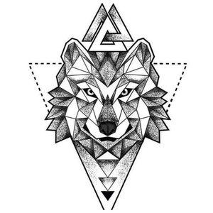 Символический эскиз волка для тату