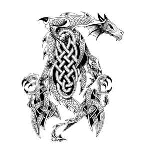Эскиз тату - черно-белый дракон