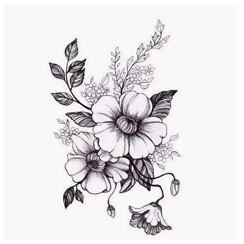Картинки для тату черно белые цветы