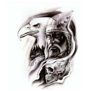 Эскиз тату - потрет с орлом