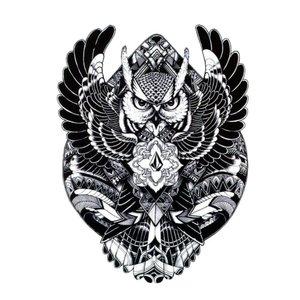 Эскиз тату - блэкворк сова