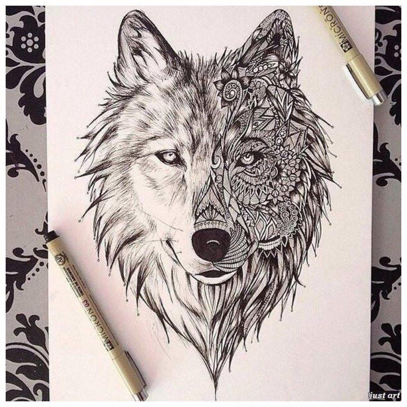 Морда волка - эскиз для тату