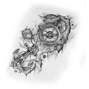 Эскиз с компасом и якорем