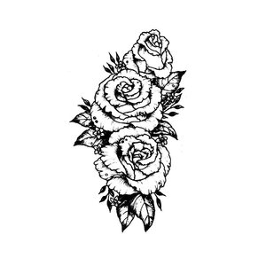 Эскиз цветка для тату на бедро