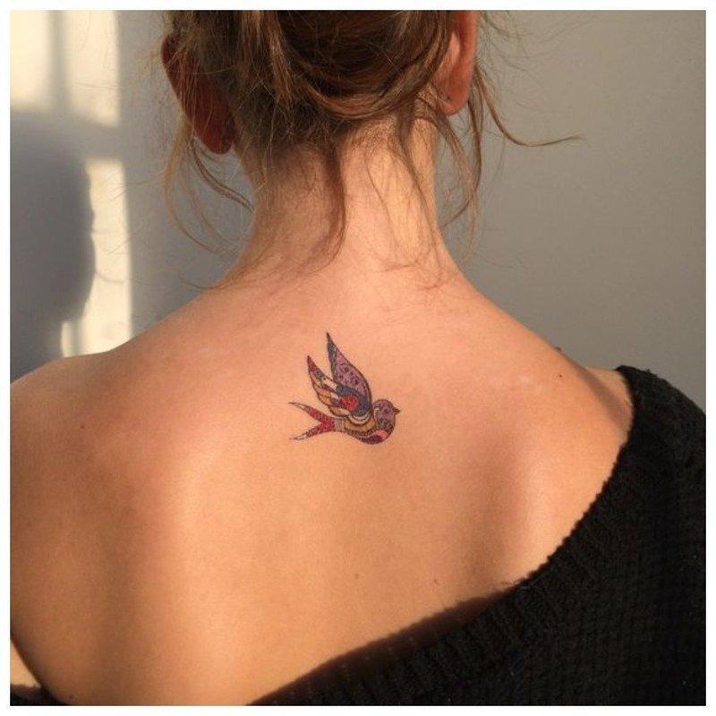 Птица - тату на спине девушке